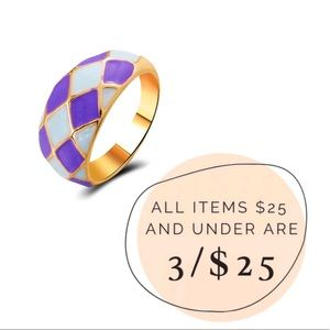 3/$25 Gold plated Argyle checkered Dome ring